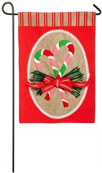 Christmas garden flag candy canes on burlap