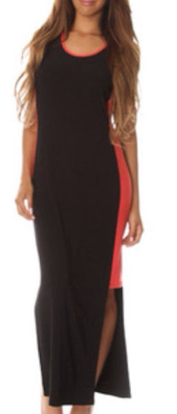 Coral black Color block sleeveless Maxi dress