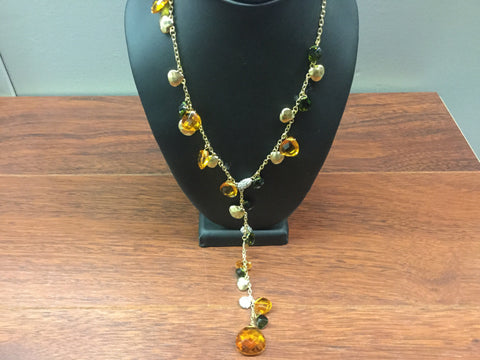 Amber stones fringe necklace set