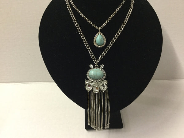 Turquoise stones and fringe chains layer necklace