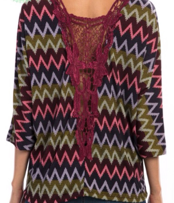 Zig Zag Crochet Back knit top plus