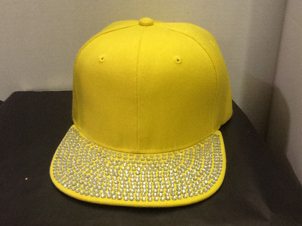 Yellow with rhinestone bill ball cap