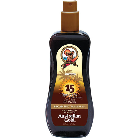 AUSTRALIAN GOLD SPRAY GEL SUNSCREEN SPF 15 WITH INSTANT BRONZER