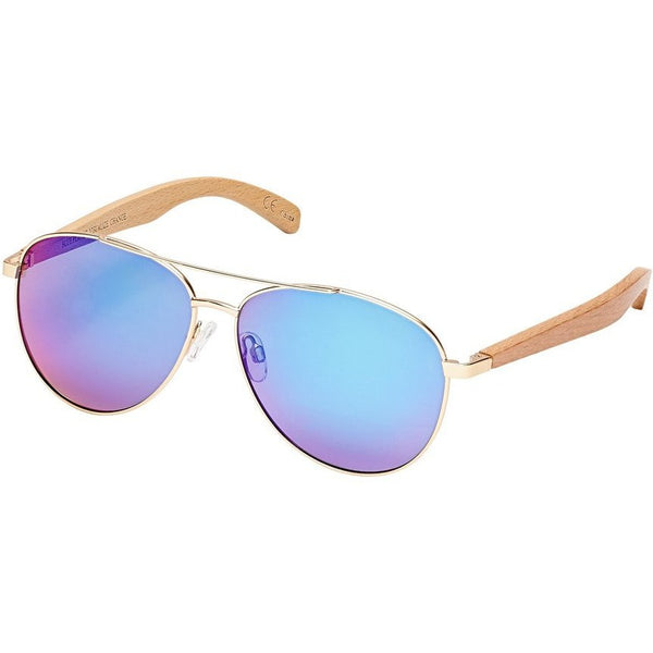 Amador Gold Wood Blue Green Mirror Polarized