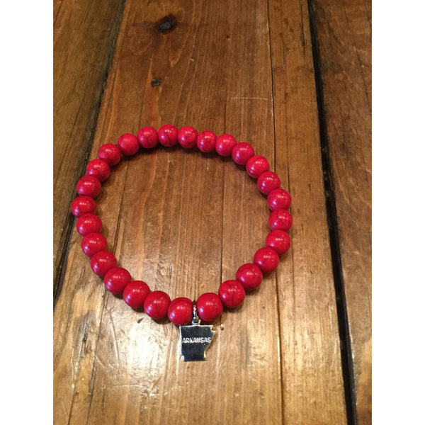 Red Bead Bracelet with Silver AR Charm