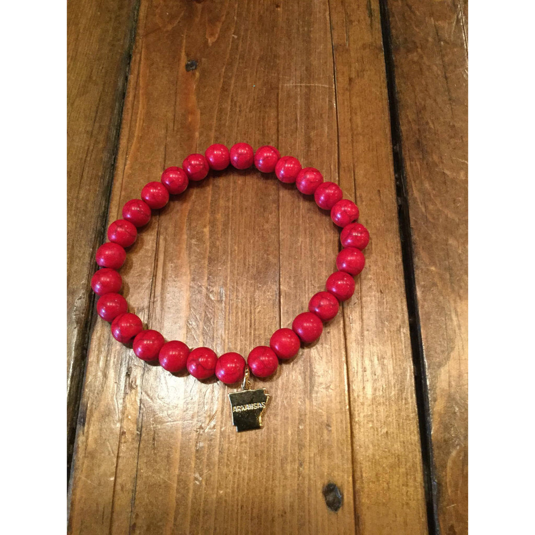 Red Bead Bracelet with Gold AR charm