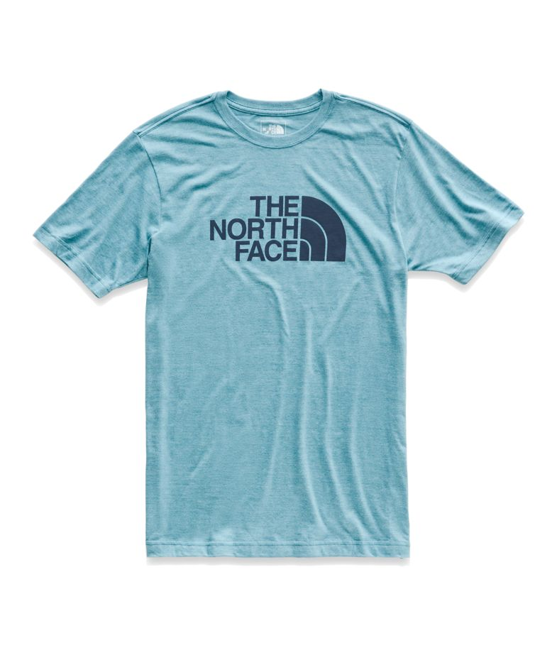 the north face short sleeve half dome triblend t-shirt storm blue and urban navy