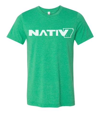 arkansas nativ t-shirt heather kelly green