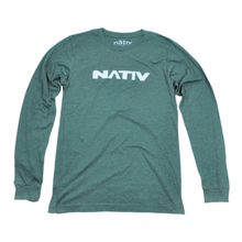 nativ green t-shirt heather forest long sleeve front