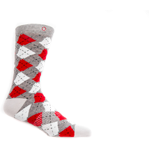 Argyle Arkansas Socks - Red/Grey/White