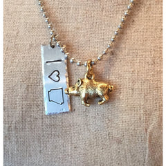 Love Arkansas Necklace with Gold Hog Charm