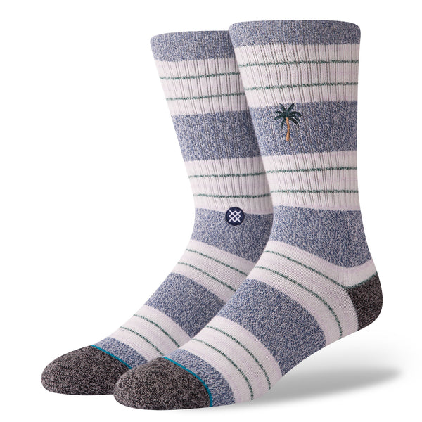 stance socks butter blend striped crew shade navy