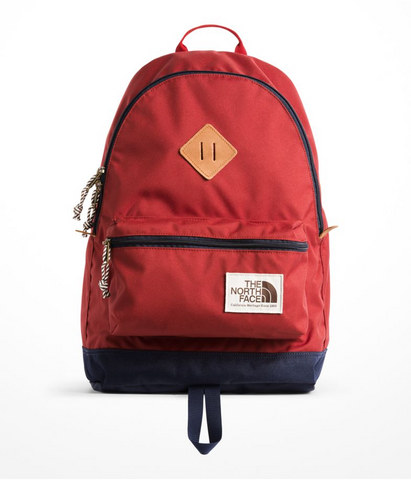 the north face berkeley backpack caldera red urban navy