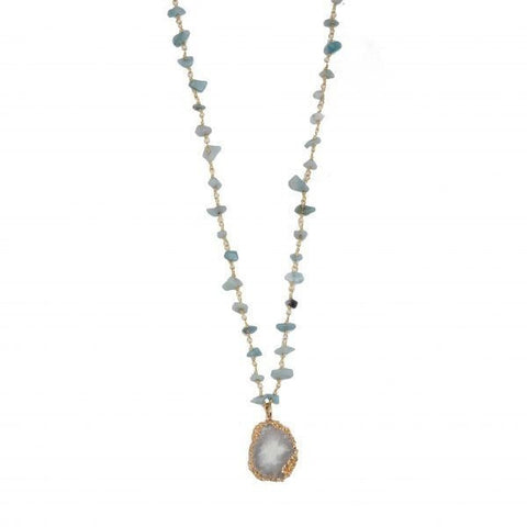 amazonite necklace with quartz pendant