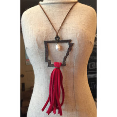 Rustic Arkansas with Red Tassel Necklace