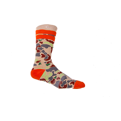 duck camp socks orange and tan