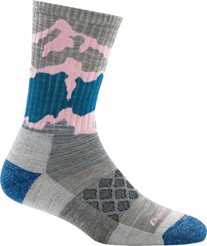 Darn Tough Women's Three  Peaks Micro Crew Light Cushion Sock Light Grey