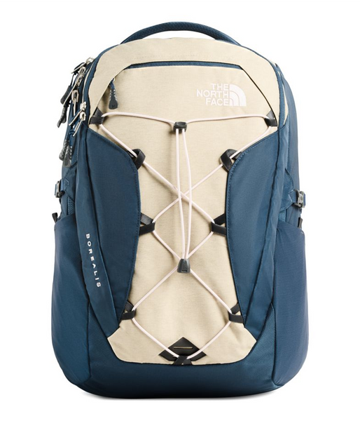 The North Face Women's Borealis Backpack Blue Wing Teal and Light Heather Beige Twill