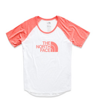 the north face women's short sleeve baseball tee white spiced coral heather
