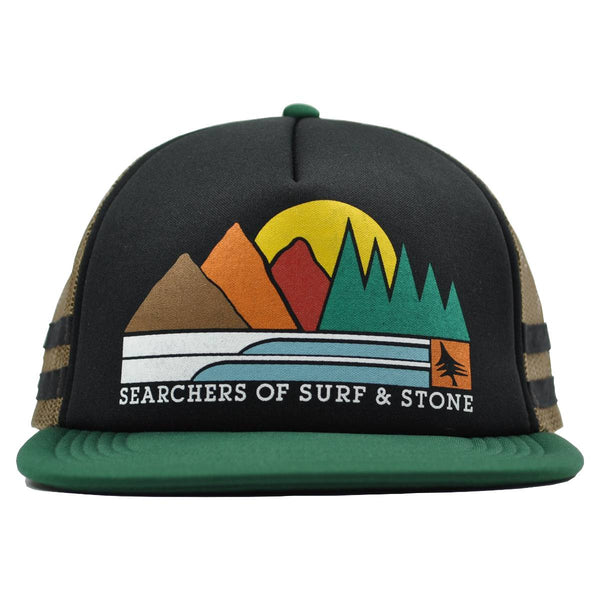 hippy tree trucker hat black