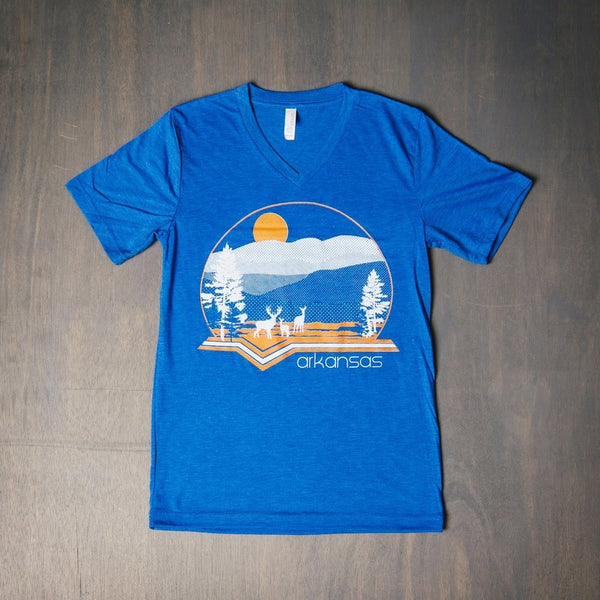 arkie style deer blue v-neck t-shirt