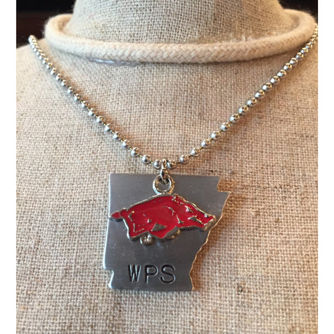 Arkansas Razorback Necklace with Red Hog and Arkansas Charms