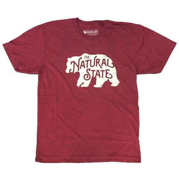 Natural State (Arkansas) Bear T-Shirt - Cranberry
