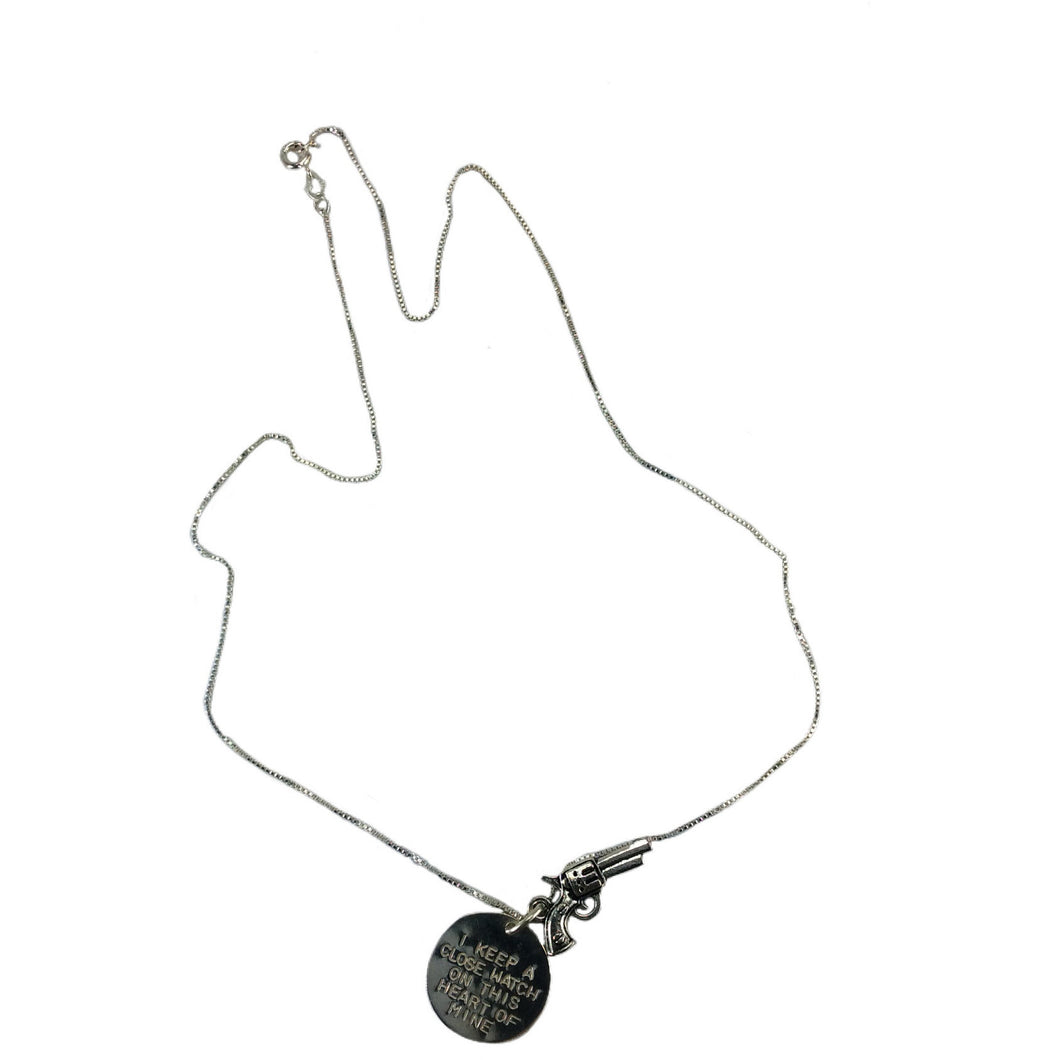 silver pistol charm necklace