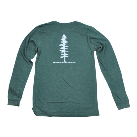 nativ green t-shirt heather forest long sleeve back