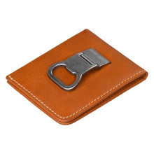 Stanley Tan Leather Bi-fold Money Clip Wallet clip view