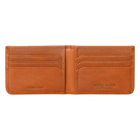Stanley Tan Leather Bi-fold Money Clip Wallet open view