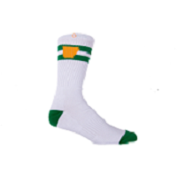 arkansas socks - white - yellow - green