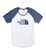 the north face women's short sleeve baseball tee white blue wing teal heather