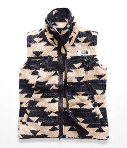 the north face women's campshire vest peyote beige california print