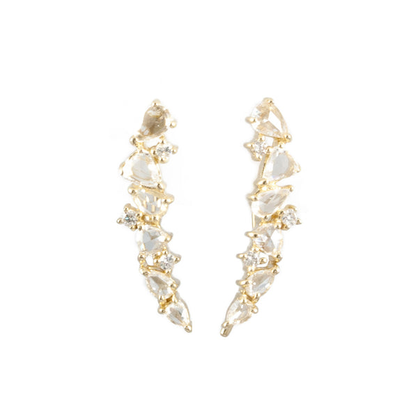 Diamond Cluster Caterpillar Earrings