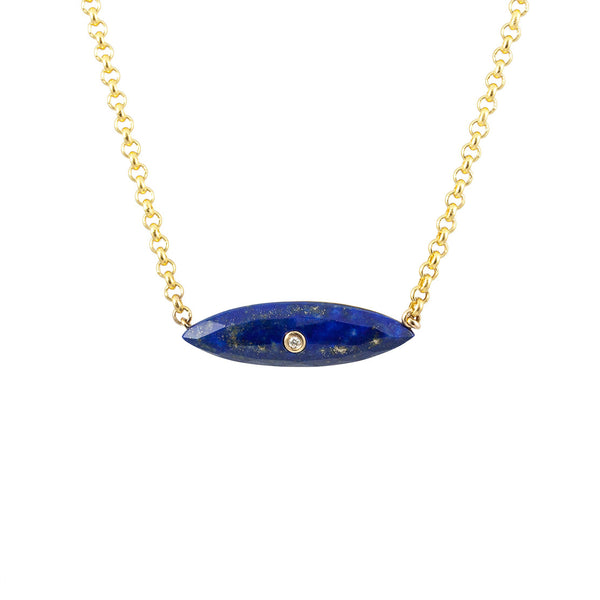 Marquise Lapis Diamond Pendant Necklace