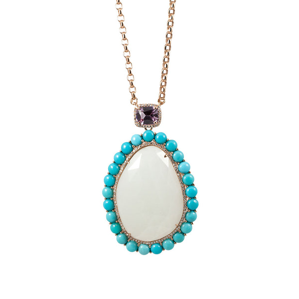 Oval Moonstone and Turquoise Pendant Necklace