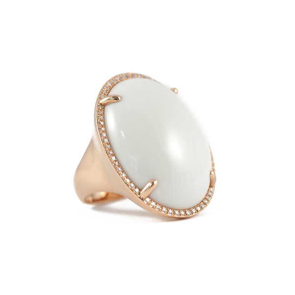 Oval White Agate Ring