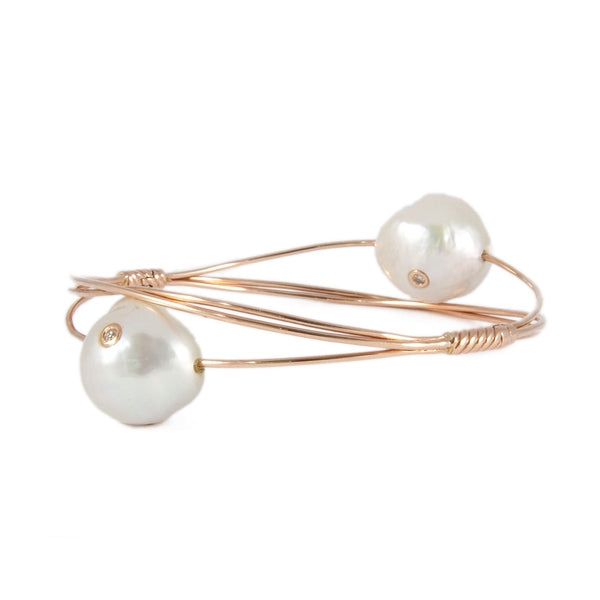 Pearls on a Wire Bangle