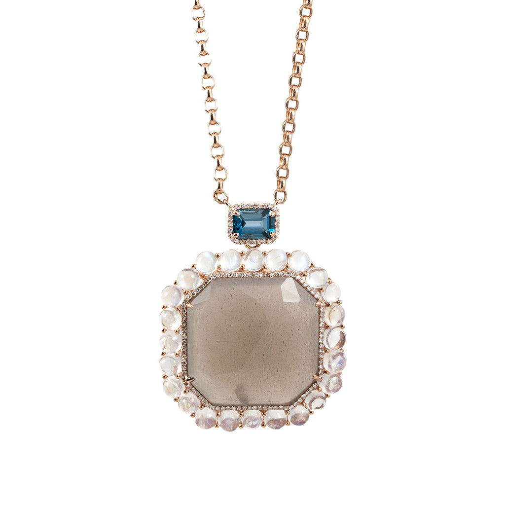 Radiant Cut Labradorite and Moonstone Pendant Necklace