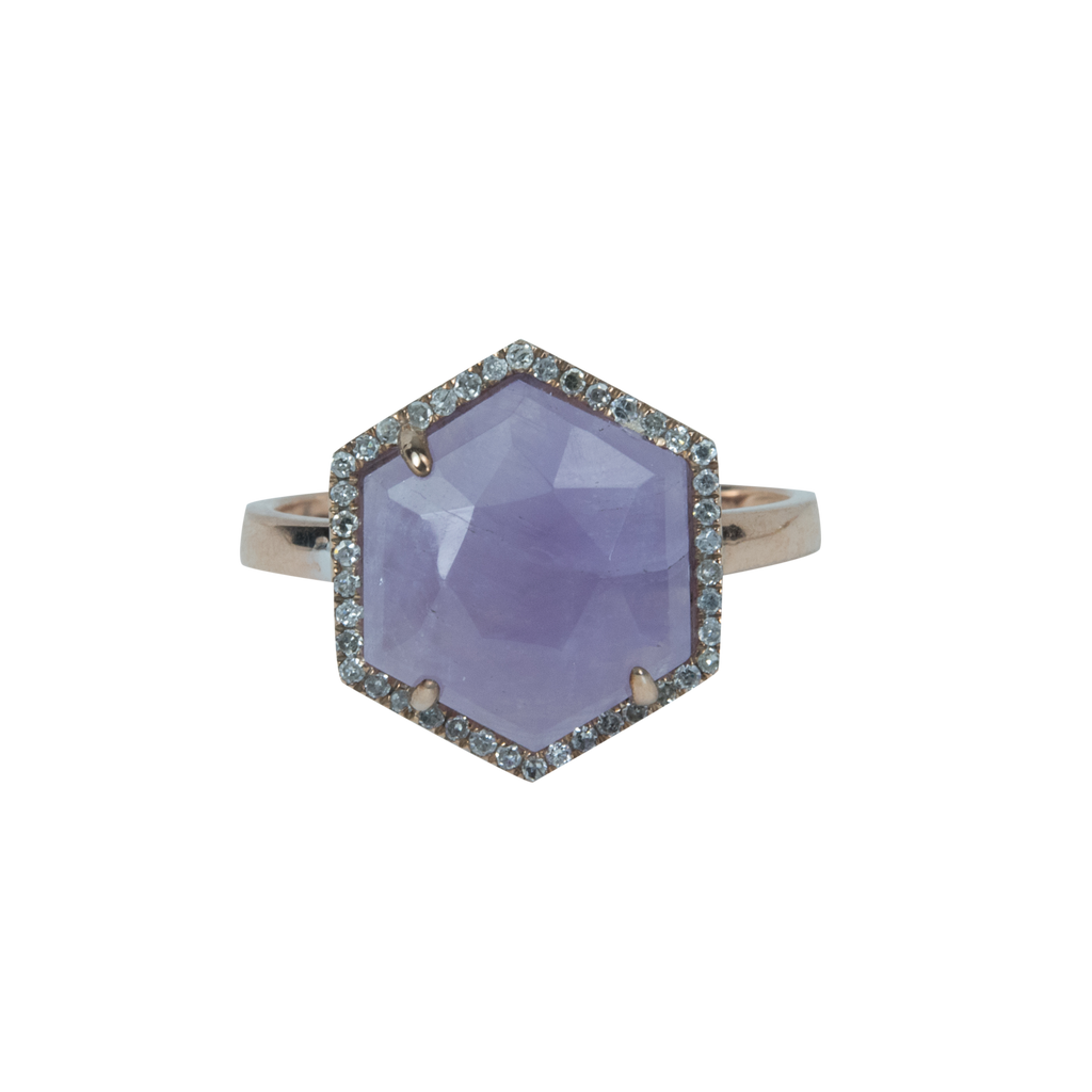 Cape Amethyst Hexagon Ring