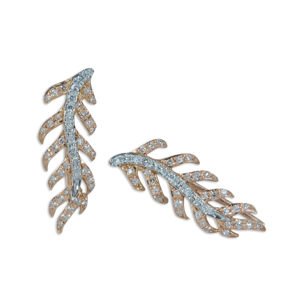 Crawling Diamond Leaf Earrings