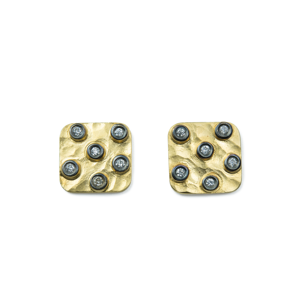 Hammered Dice Earrings with Diamonds