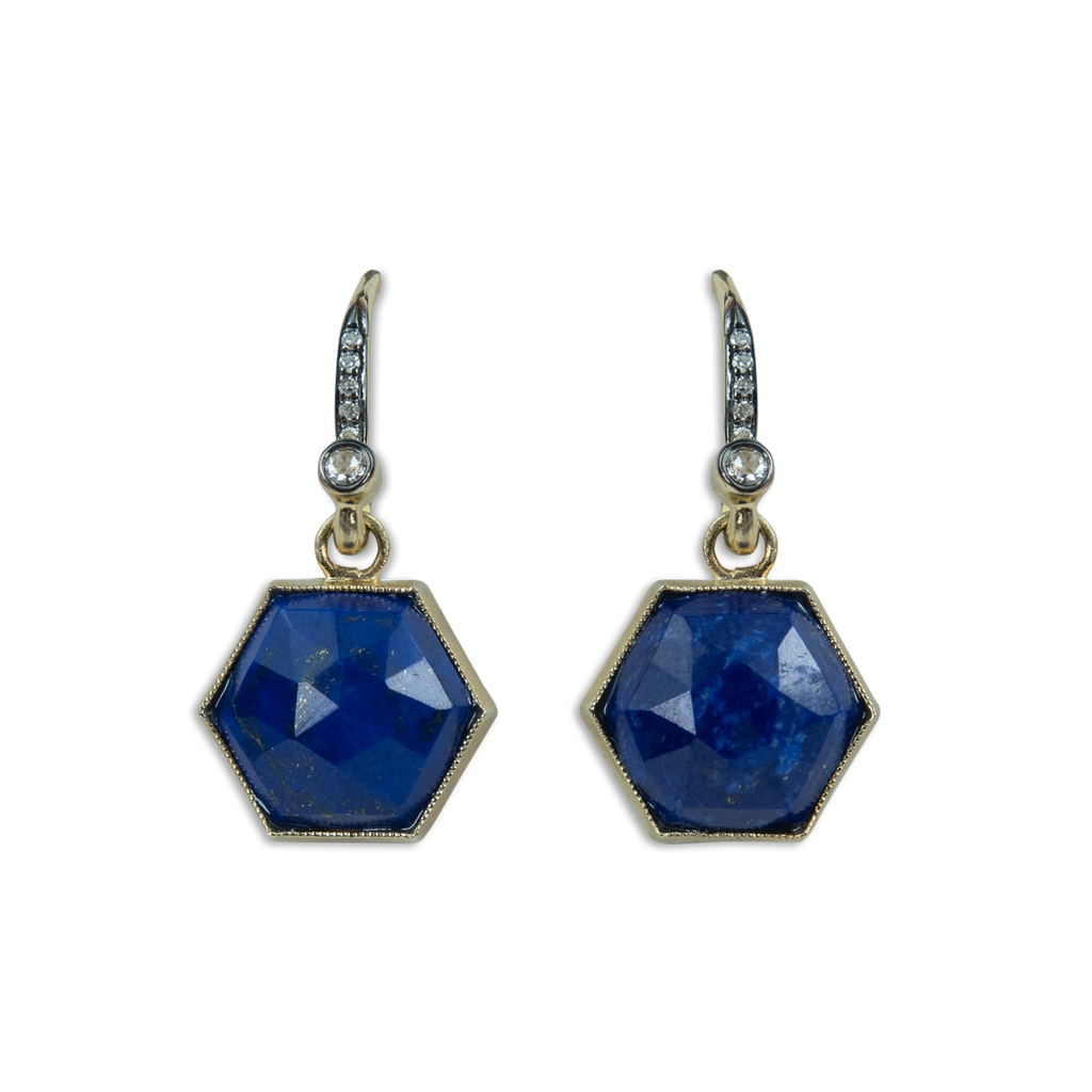 Hexagonal Lapis Drop Earrings