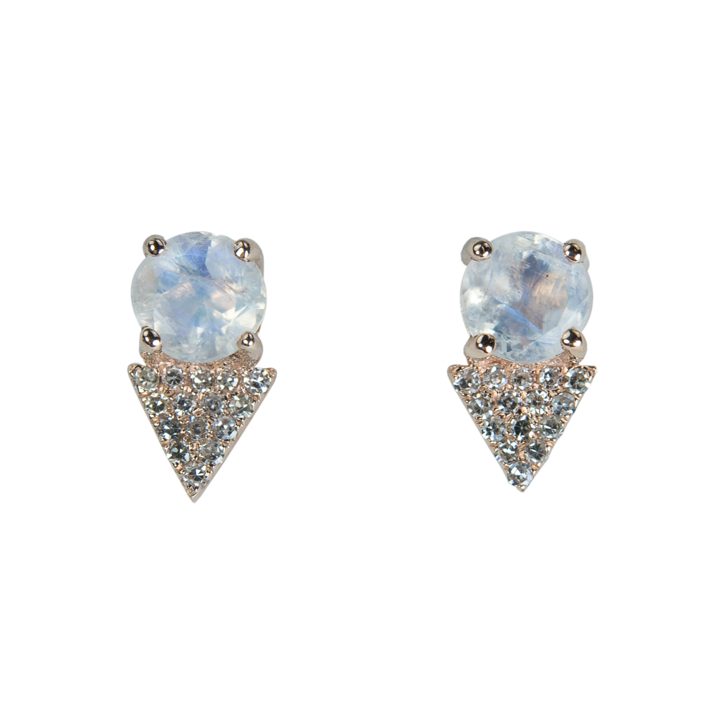 Mini Moonstone Diamond Earrings