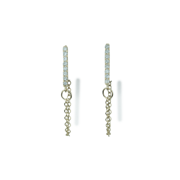 Diamond Bar and Chain Earrings