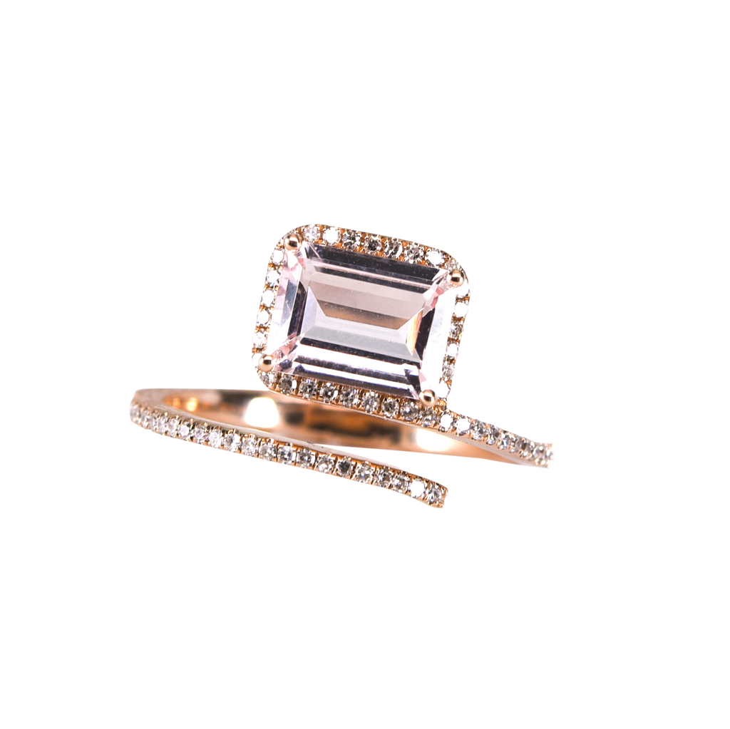 Pink Spinel Ring with diamonds