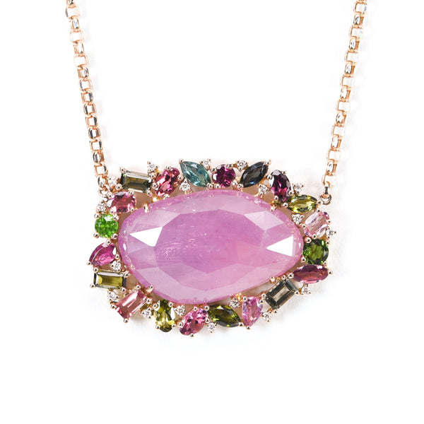 Pink Tourmaline Pendant Necklace
