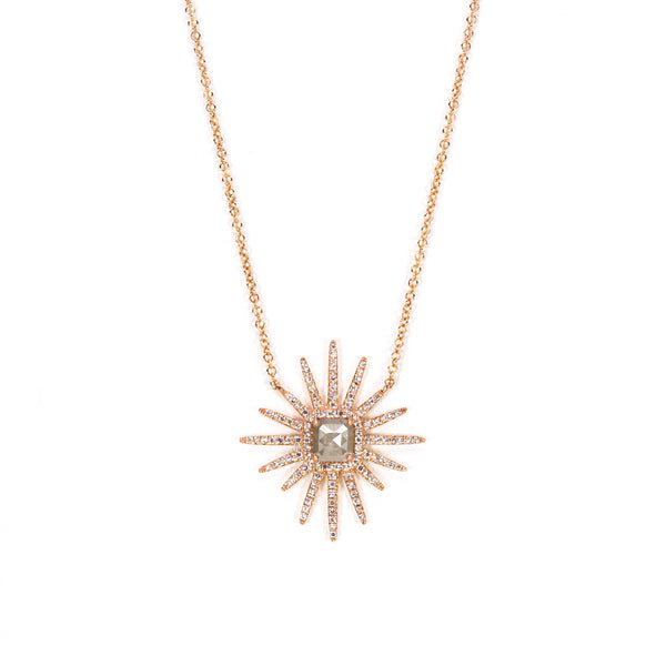 Starburst  Raw Diamond Pendant Necklace