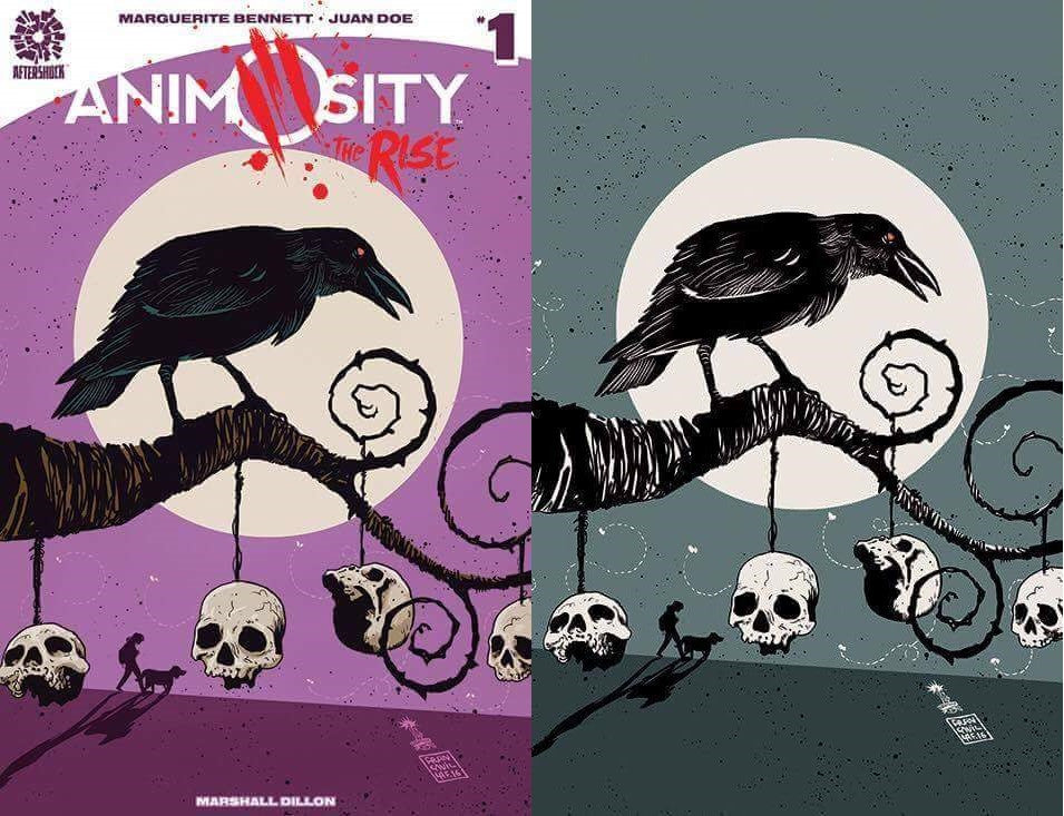 ANIMOSITY THE RISE ONE SHOT EXCLUSIVE FRANCESCO FRANCAVILLA COLOR & BW VARIANT SET 400/200 PRINT RUN